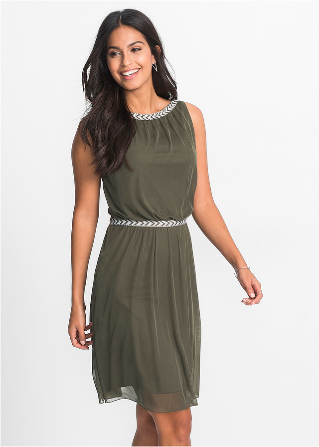 Zwiewna oliwkowa sukienka z szyfonem