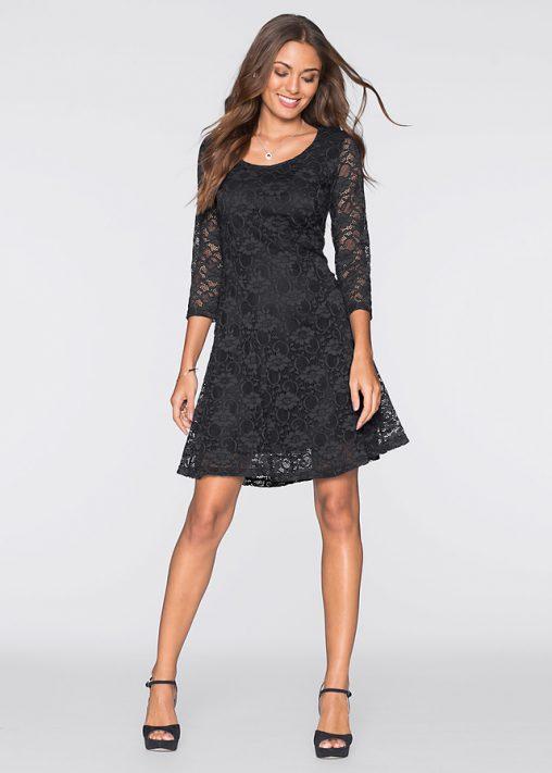 Koronkowa czarna sukienka rozkloszowana
