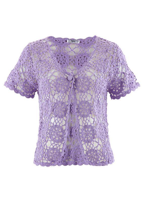 Fioletowe koronkowe bolerko do sukienki