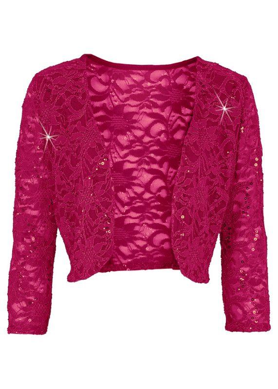 Eleganckie bolerko koronkowe z cekinami różowe
