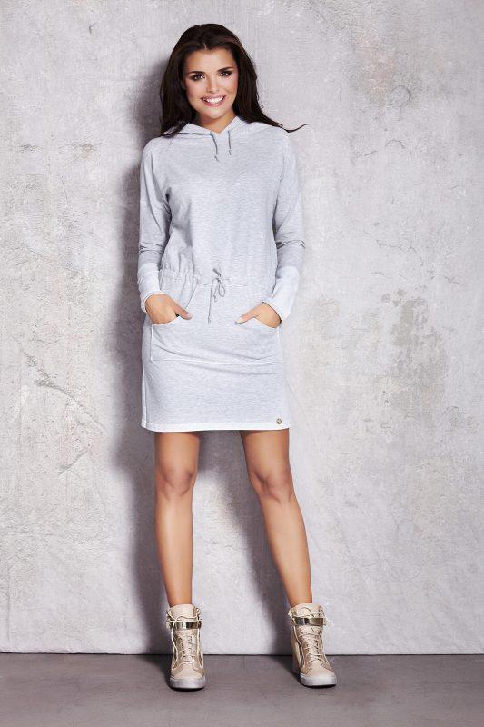 Szara dresowa sukienka z kapturem