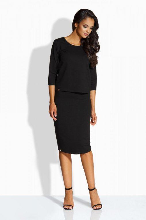 Czarny komplet bluzka i spódnica