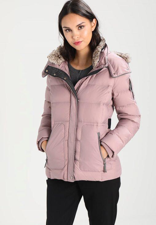 Damska zimowa kurtka puchowa z kapturem fioletowa