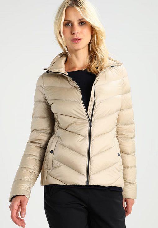 Puchowa beżowa kurtka zimowa damska