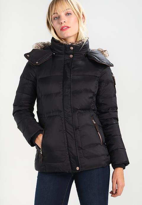 Damska zimowa kurtka puchowa z kapturem czarna