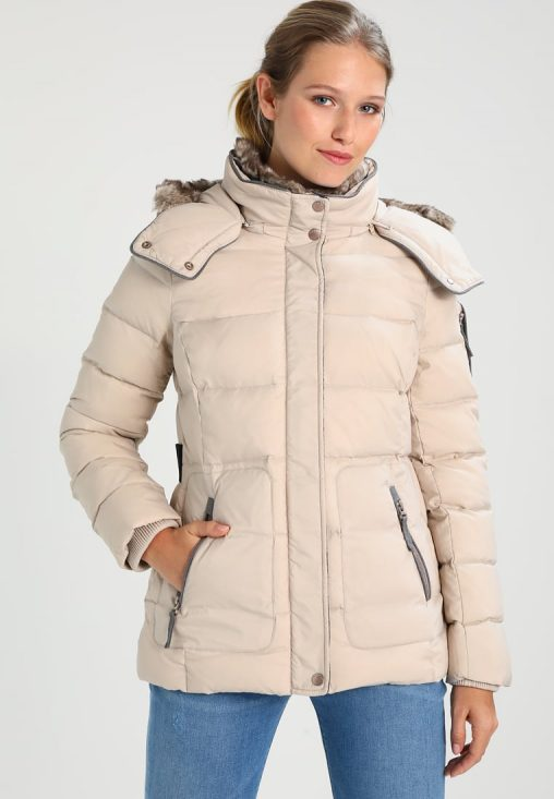 Damska zimowa kurtka puchowa z kapturem beżowa