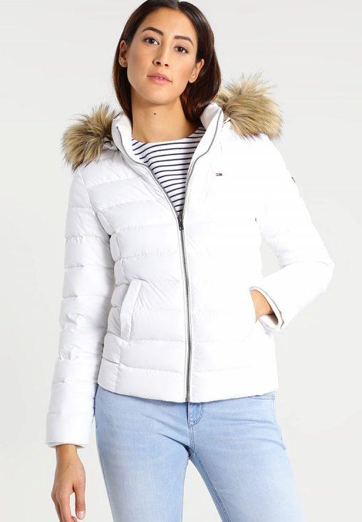 Biała zimowa kurtka puchowa