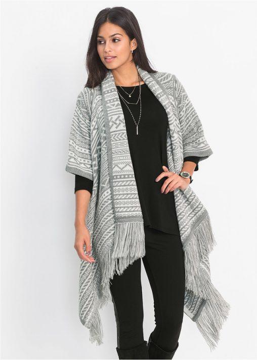 Stylowy sweter ponczo z frędzelkami