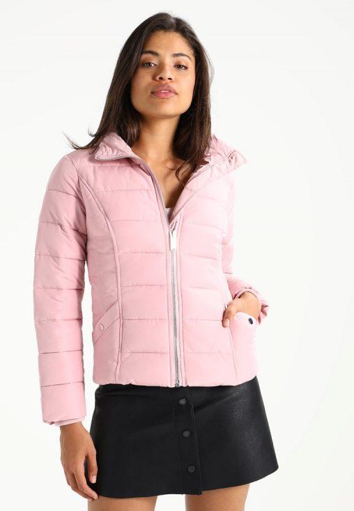 Różowa zimowa kurtka ze ściagaczami