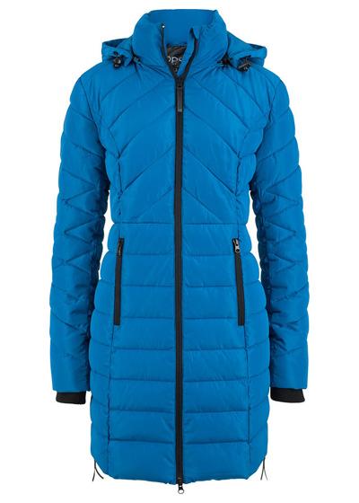 Długa kurtka pikowana, ocieplana niebieska