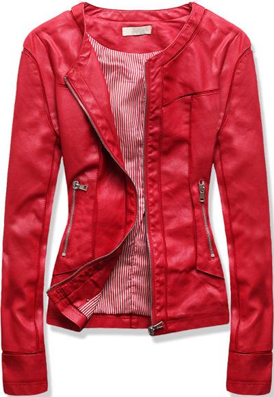 Krótka kurtka ramoneska czerwona