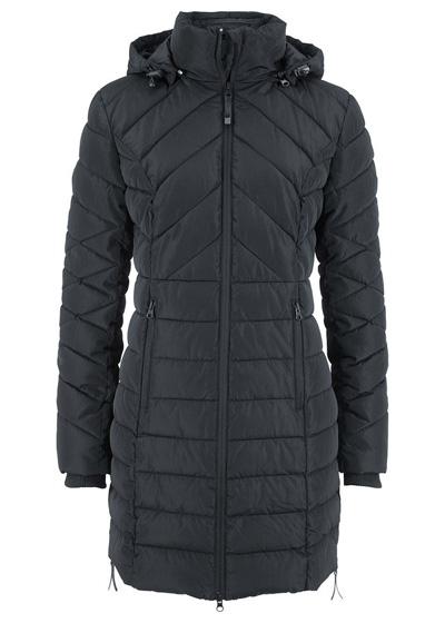 Długa kurtka pikowana, ocieplana czarna