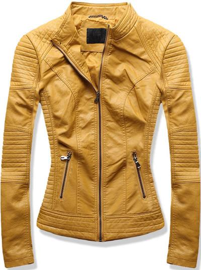 Krótka kurtka ramoneska żółta