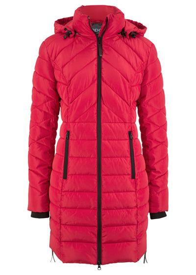 Długa kurtka pikowana, ocieplana czerwona