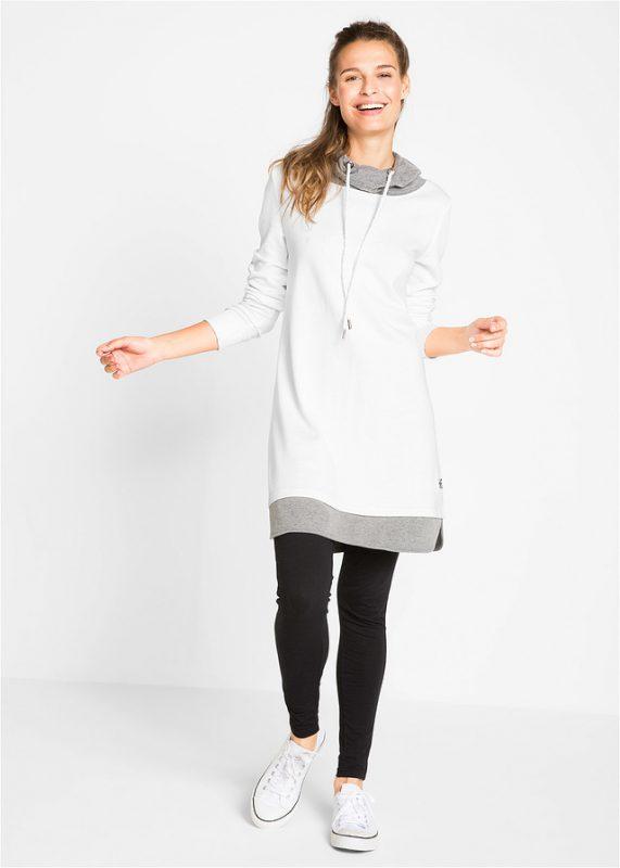 Biała dresowa sukienka z legginsami