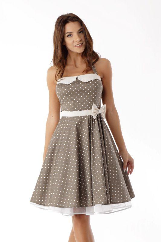 Brązowa sukienka vintage style