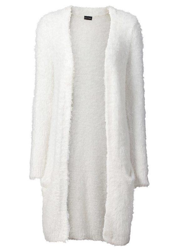 Sweter kardigan biel wełny