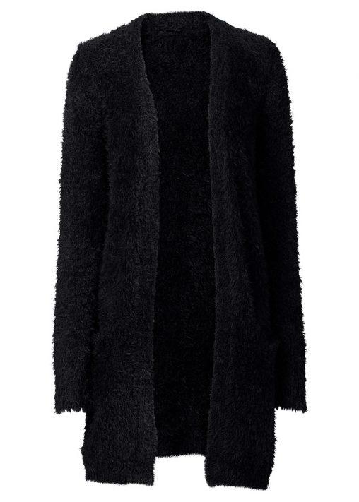 Długi sweter kardigan jesienny czarny