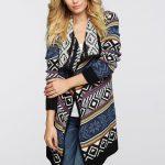 Kolorowy długi sweter kardigan
