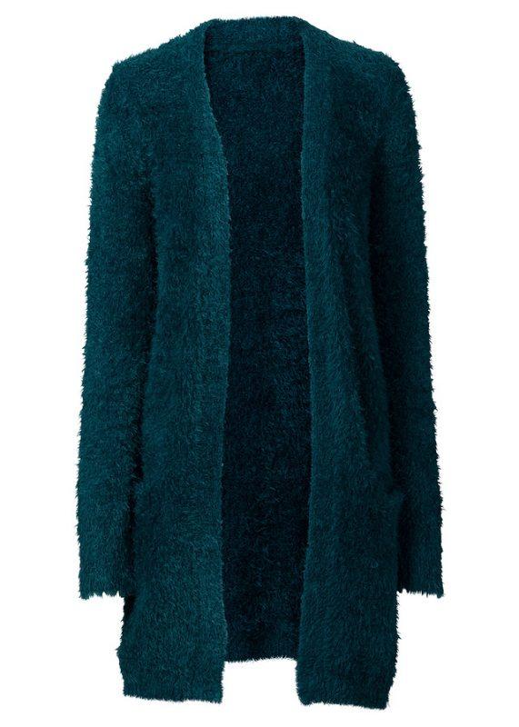 Długi sweter kardigan jesienny zielony