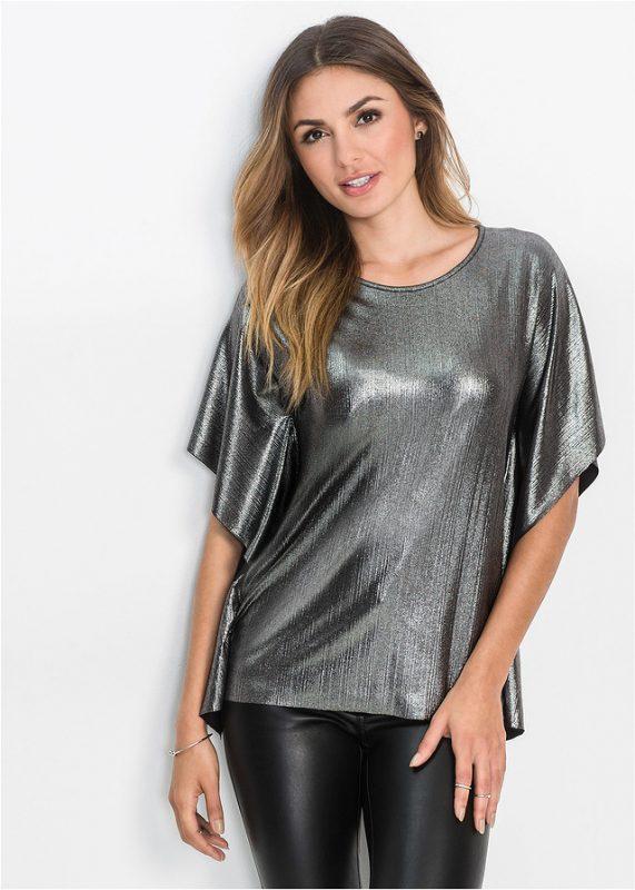 Połyskująca bluzka sylwestrowa czarno - srebrna