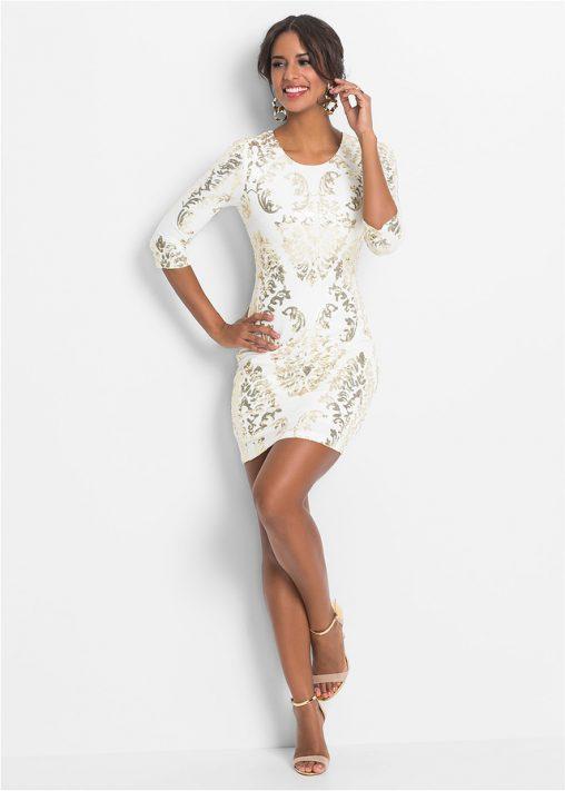 Biała błyszcząca sukienka z cekinami