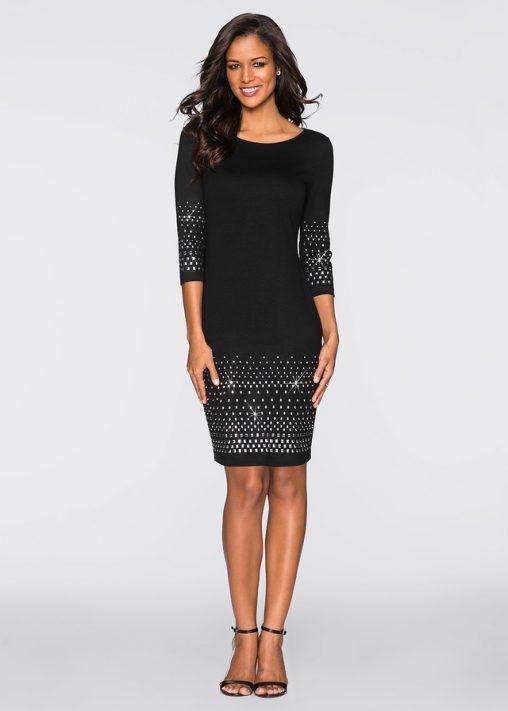 Połyskująca czarna sukienka z ćwiekami