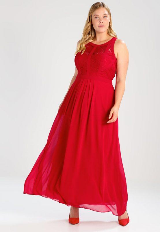Balowa długa suknia wieczorowa plus size czerwona