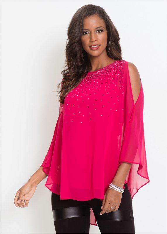 Różowa połyskująca luźna bluzka z szyfonu