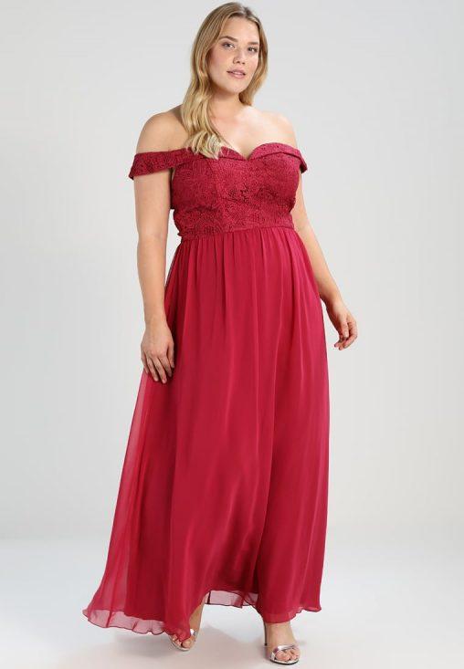 Czerwona sukienka carmen balowa plus size