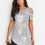 Asymetryczna bluzka tunika srebrna