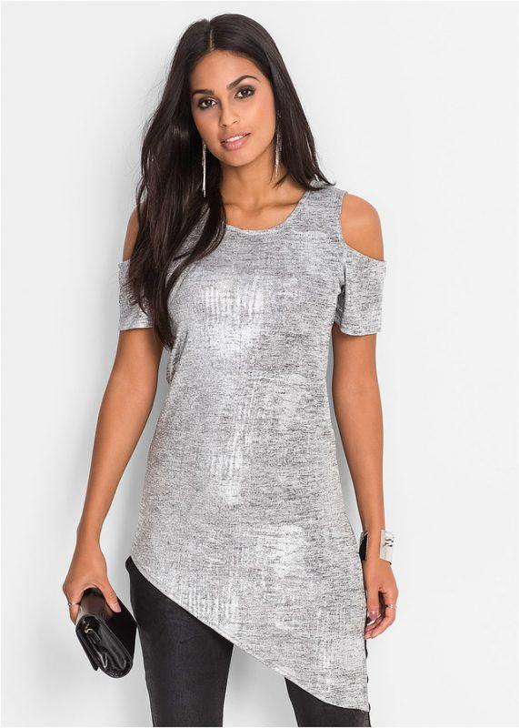 Asymetryczna bluzka tunika srebrna na sylwestra