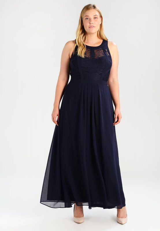 Balowa długa suknia wieczorowa plus size granatowa