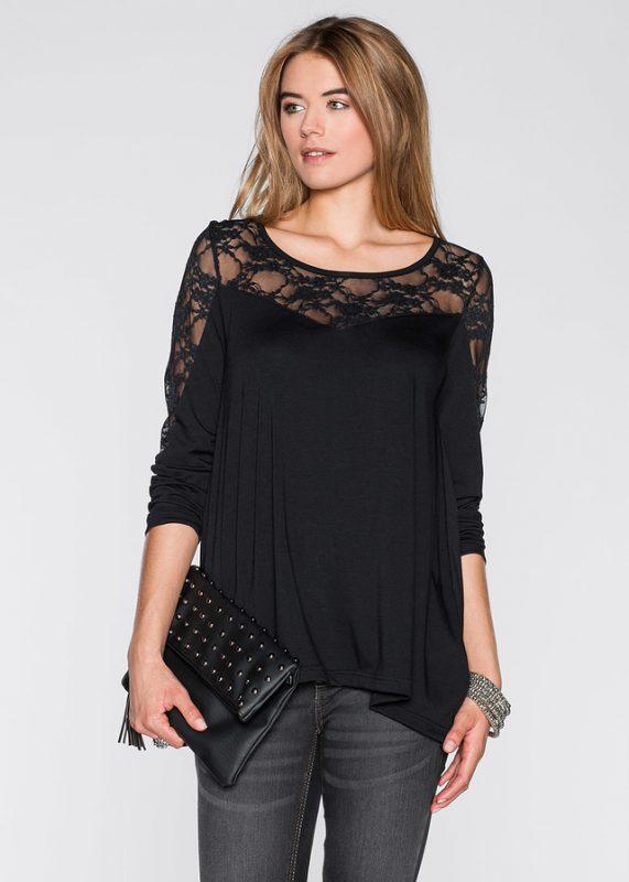 Modna czarna bluzka z siateczką