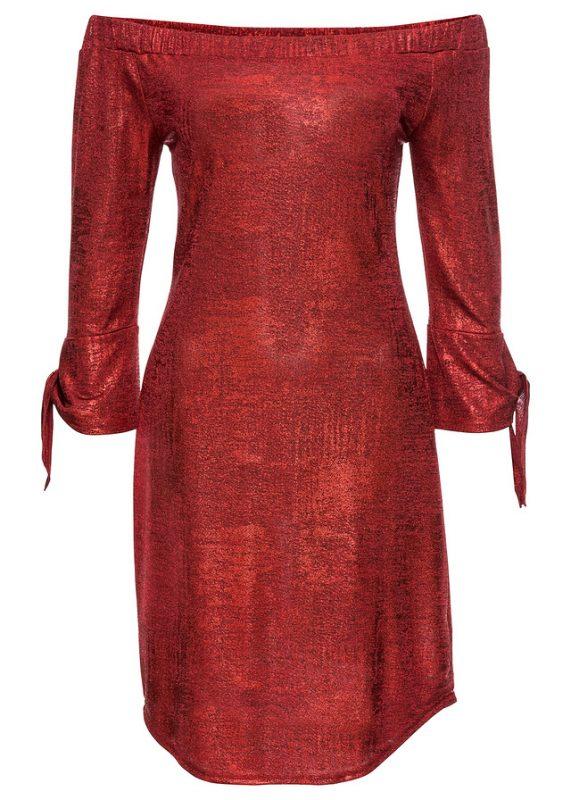 Błyszcząca sukienka na imprezę czerwona
