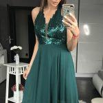 Zielona sukienka z cekinami na sylwestra