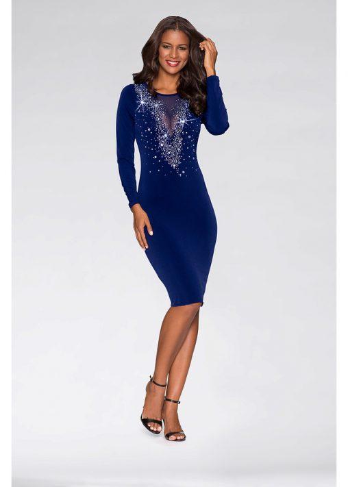 Wieczorowa sukienka z kamieniami niebieska