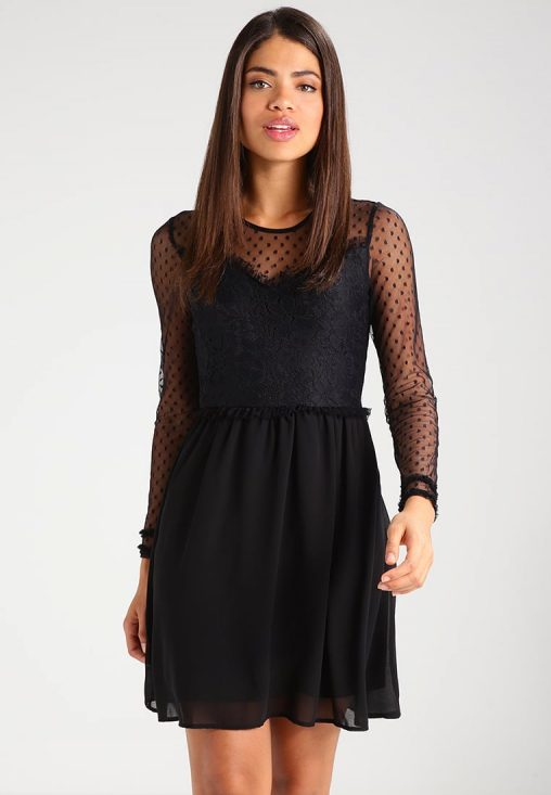Czarna sukienka rękawy z siatki, na wesele i sylwestra