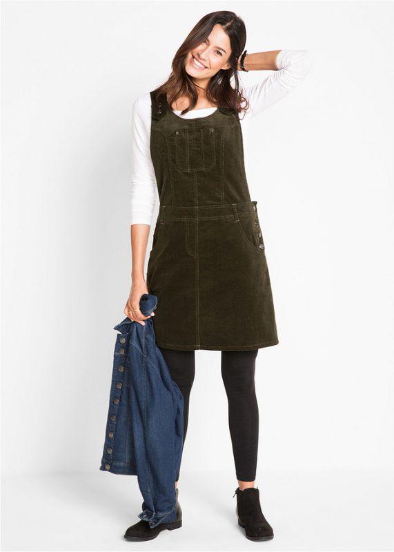 Sukienka ogrodniczka sztruksowa ciemna oliwka