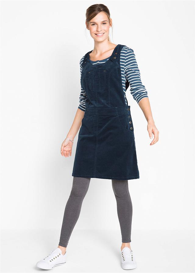 Sukienka ogrodniczka sztruksowa ciemnoniebieska