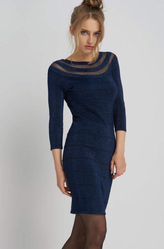 Elegancka sukienka transparentne wstawki