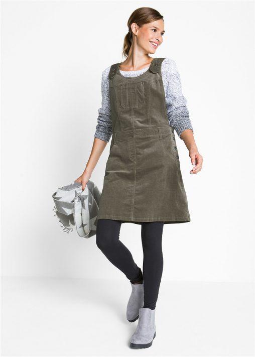 Sukienka ogrodniczka sztruksowa jasnooliwkowa