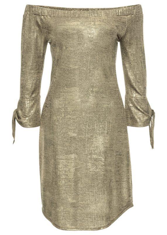 Błyszcząca sukienka na imprezę złota