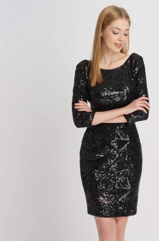 Czarna sylwestrowa sukienka z cekinami