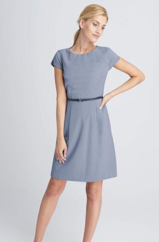 Elegancka szara sukienka rozkloszowana