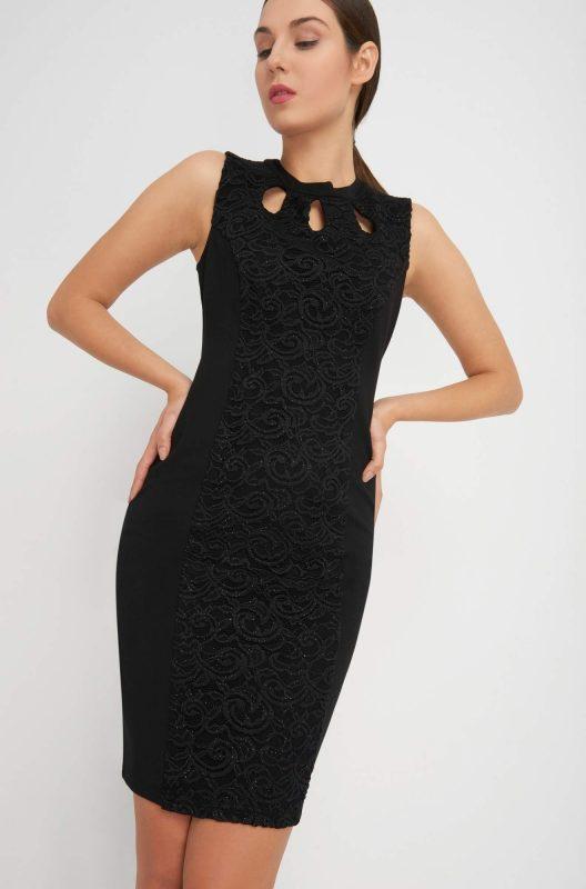 Czarna ołówkowa sukienka z wycięciami w dekolcie
