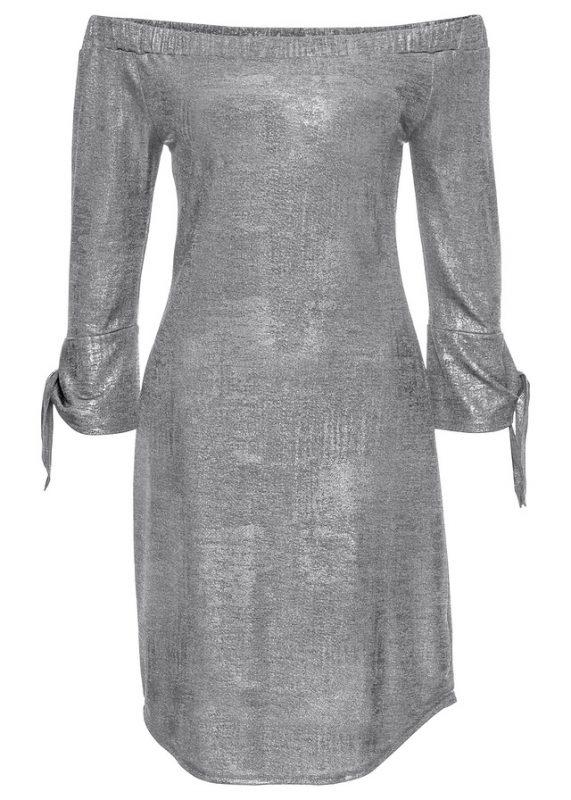Błyszcząca sukienka na imprezę srebrna