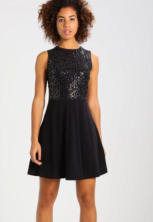 Błyszcząca czarna sukienka z cekinami