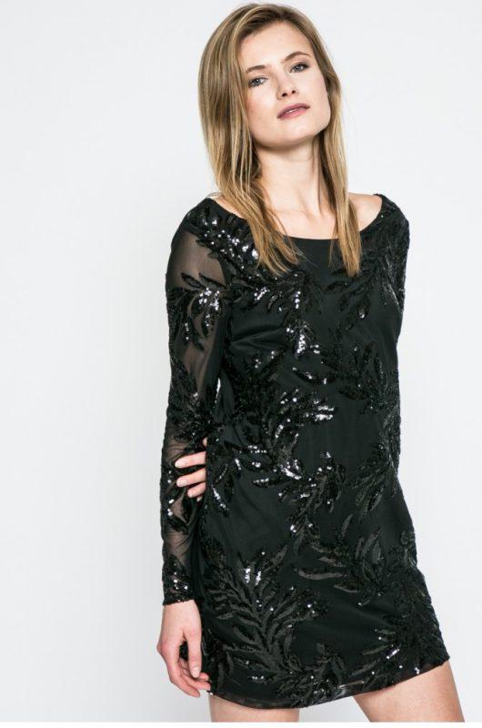 Sukienka na sylwestra rękawy z siateczki