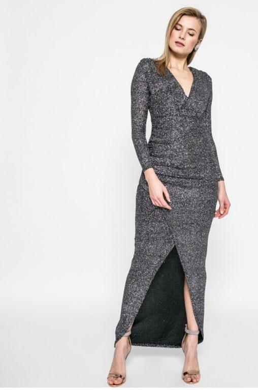 Srebrna sukienka maxi na wesele i sylwestra